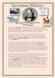 English Worksheets: Tennessee Williams is the greatest American playwright