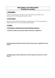 English Worksheets: Are animals not for eating