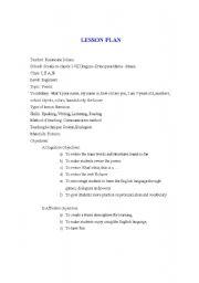 English Worksheet: lesson plan