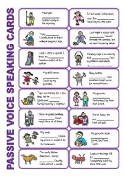 English Worksheet: SET 5: Passive voice / tenses / adverbs of frequency / irregular verbs / modals - worksheet OR speaking activity (purple series)