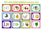 English Worksheets: PET AND FARM MEMORY CARD GAME