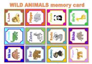 English Worksheet: WILD ANIMALS MEMORY CARD GAME
