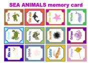 English Worksheets: SEA ANIMALS MEMORY CARD  GAME
