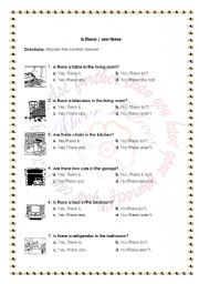 English Worksheets: Is there /are there