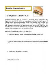 English Worksheets: The origin of SANDWICH