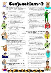 English Worksheet: Conjunctions-4 (Editable with Answer Key)