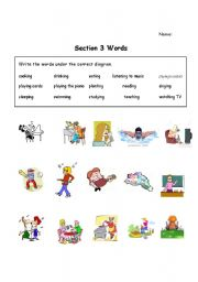 English Worksheets: Section 3 Side By Side Terms - What are you Doing?