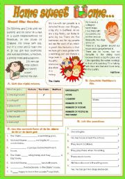 English Worksheet: HOME SWEET HOME...