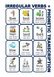 English Worksheet: Set1: Irregular verbs cards + phonetic transcription