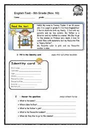 English Worksheet: English Test 5th grade (2nd year