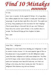 English Worksheets: Find 10 Mistakes (2 pages wss + 2 pages answer key)