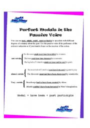 English Worksheet: Perfect Modals in The Passive Voice