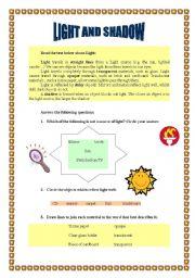 english worksheets light and shadow worksheet. Black Bedroom Furniture Sets. Home Design Ideas
