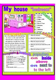 English Worksheet: My house - bedroom