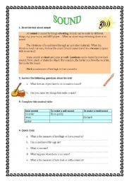 English Worksheets: Sound