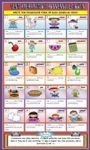 English Worksheets: POSSESSIVE SINGULAR NOUNS