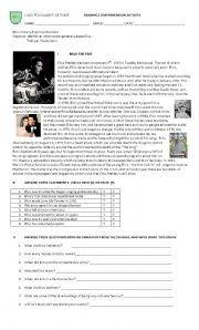 English Worksheet: elvis presley reading comprehension