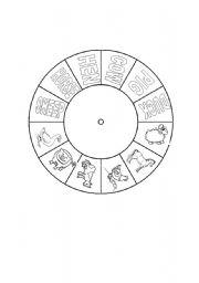 English Worksheet: Farm Animals Vocabulary wheel