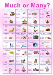 English Worksheet: MUCH or MANY test __editable__