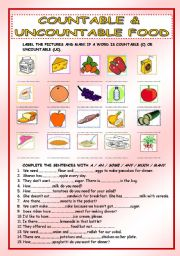English Worksheet: Countable and uncountable food, some, any, a, an, much, many