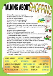 English Worksheet: TALKING ABOUT SHOPPING- SPEAKING