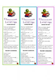 English Worksheet: Basic Classrooom Language(editable) Bookmarks.