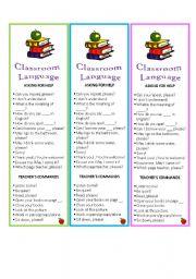 English Worksheets: Basic Classrooom Language(editable) Bookmarks.