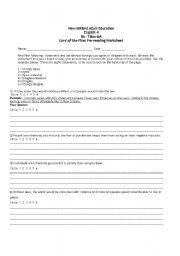 English Worksheet: Lord of the Flies Pre-reading Worksheet