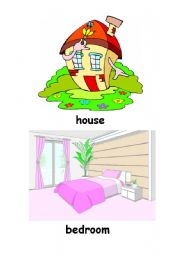 English Worksheet: Rooms in My House Set. Flashcards.