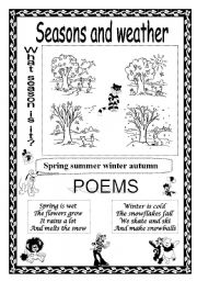 English Worksheet: SEASONS AND WEATHER + POEMS
