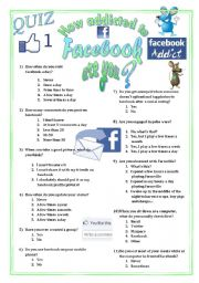 English Worksheet: NEW Quiz to test your students´ addiction to Facebook