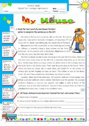 English Worksheet: My House  -  Reading  +  Writing Test