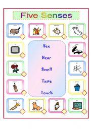 English Worksheets: Five Senses Matching