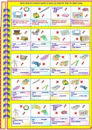 English Worksheets: What the student wants or does not want for their art class today - with answer key **fully editable