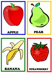 English Worksheet: Fruits flashcards set 1