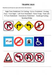 English Worksheet: traffic sign