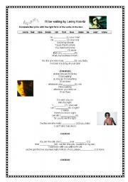 English Worksheets: Song: I�ll be waiting by Lenny Kravitz