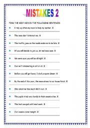 English Worksheet: MISTAKES