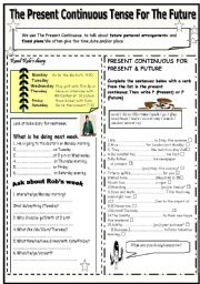 English Worksheet: THE PRESENT CONTINUOUS TENSE FOR THE FUTURE