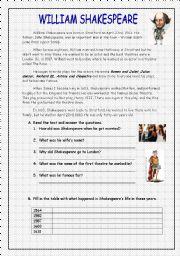 English Worksheet: William Shakespeare