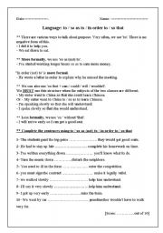 English Worksheet: in order to / used to