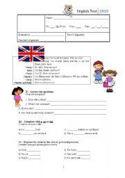 English Worksheet: 2nd test - 5th Grade
