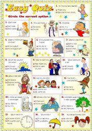 English Worksheet: EASY QUIZ