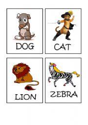 English Worksheets: Animals flash-cards part 1