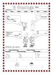 english teaching worksheets greetings. Black Bedroom Furniture Sets. Home Design Ideas