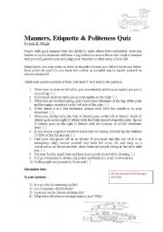 English Worksheets: Politeness text and quiz with discussion questions/polite esxpressions in English
