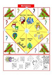 English Worksheet: Christmas vocabulary- Fortune Teller + B&W version