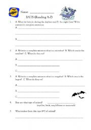 English Worksheets Bats (reading A Z Book) Move On When Reading AZ English Worksheet Bats (reading A Z Book)