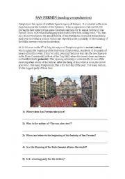 English Worksheets: San Fermín