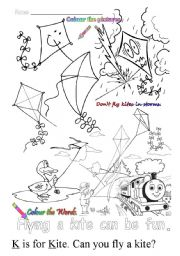 English Worksheets: K is for Kite